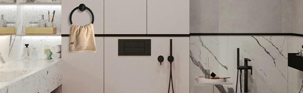 Black towel ring wall mounted
