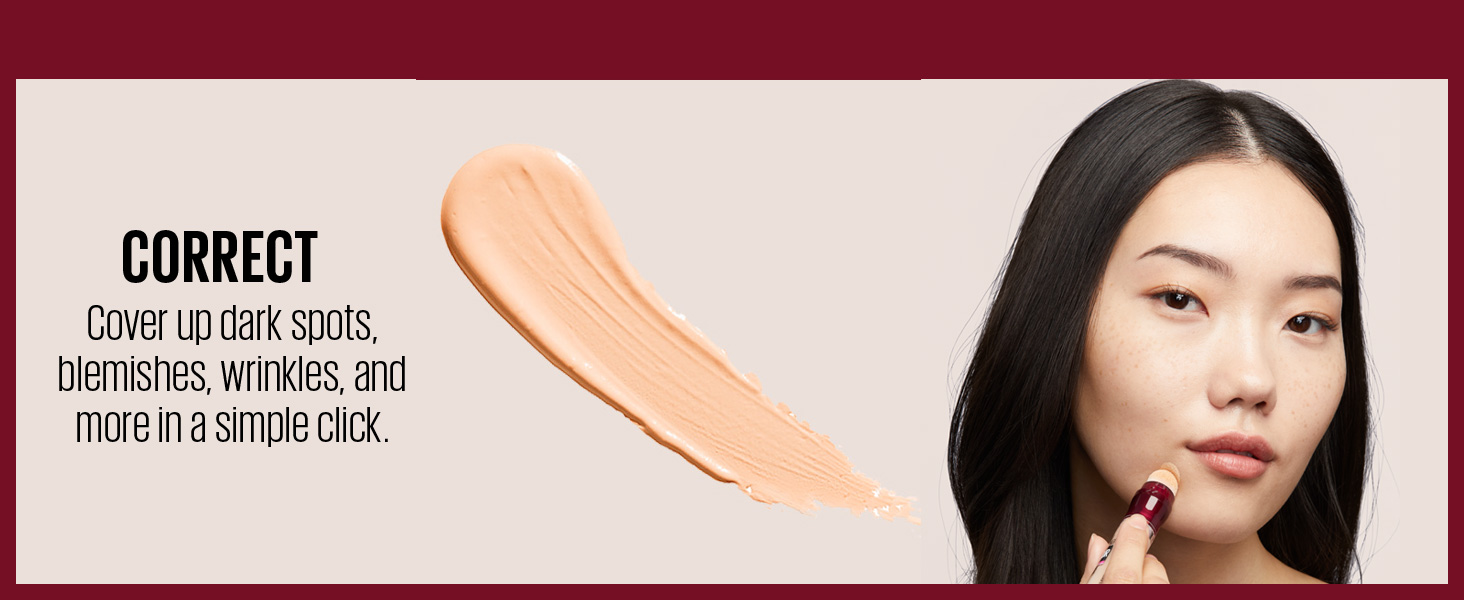 correct - Cover up dark spots, blemishes, wrinkles, and more in a simple click.