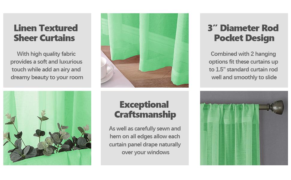 "linen textured curtains, 3"" rod pocket, 2"" bottom hem, durable polyester fabric, drape well"