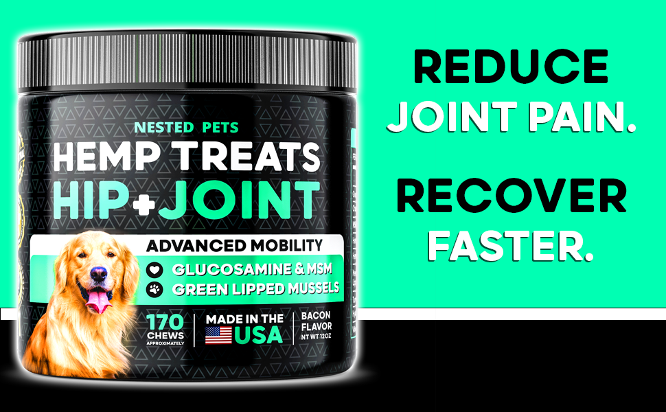 Nested Pets Hemp Treats Advanced Hip & Joint Supplement For Dogs With Glucosamine