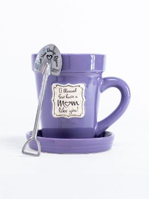 divinity purple flower pot mug