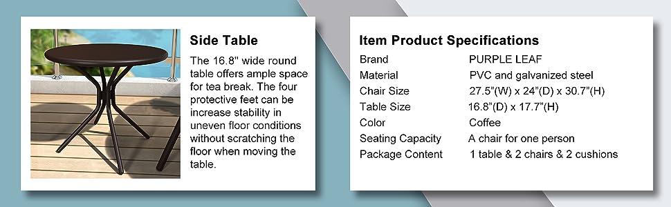 Patio bistro set, patio furniture, patio chairs, porch chairs outdoor, bistro set 3 piece