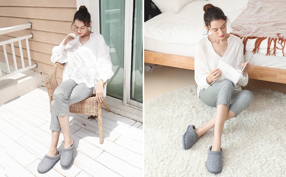 Women's Warm Cotton Knit Memory Foam Slippers Soft Yarn House Slippers with Anti Slip Sole