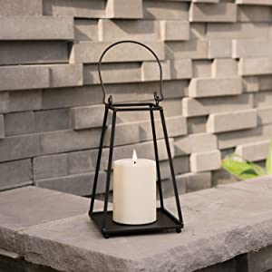 Black Metal Candle Lantern-8.5 Inch Decorative Lantern Realistic Flameless Candle, Battery Operated