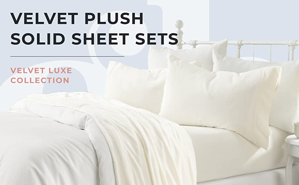 Velvet plush solid color sheets, Velvet Luxe Collection