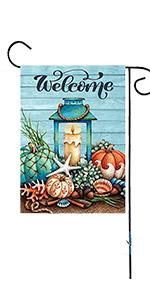 Starfish Wooden Summer Welcome Garden Flag