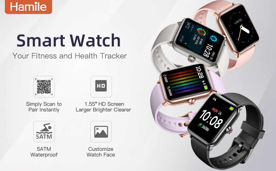 Hamile Smart Watch Your Fitness and Health Tracker 1.55 HD Screen Larger Brighter Clearer