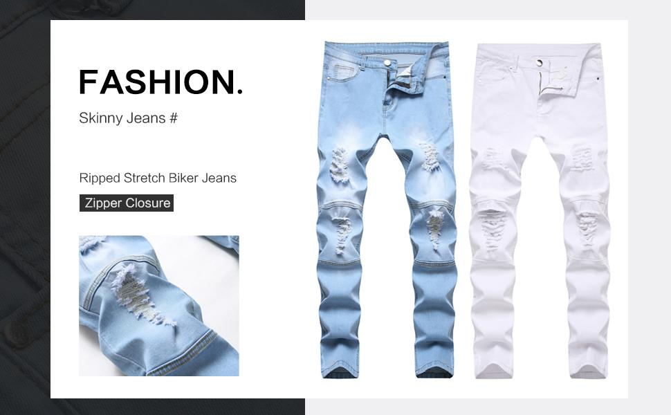 skinny ripped jeans men slim fit distressed stretchy blue biker destroyed straight rip patched white