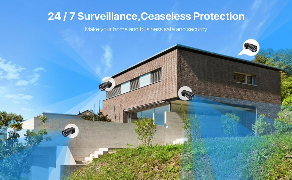 24/7 surveillance , caseseless protection, make your home and business safe and security