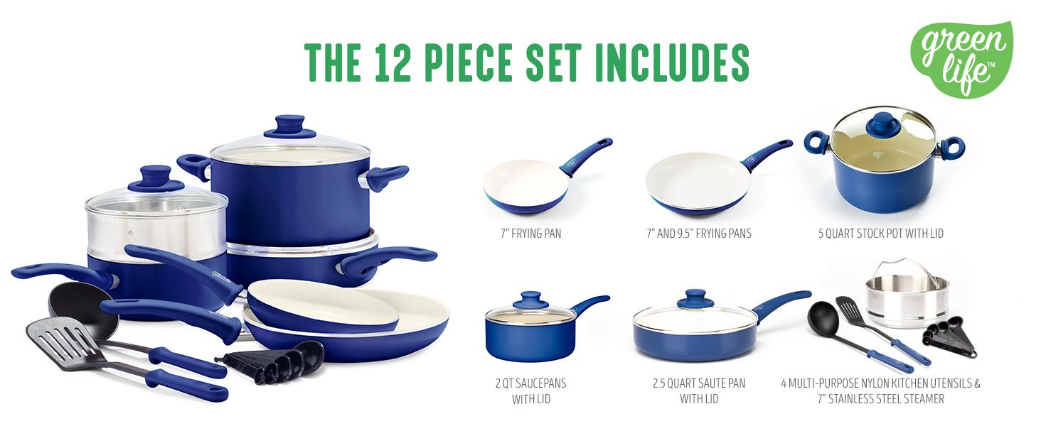 GreenLife Soft Grip, Colors, Cookware Set