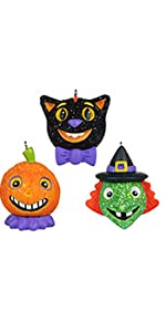 Miniature ornaments for Halloween tree including black cat, witch and pumpkin