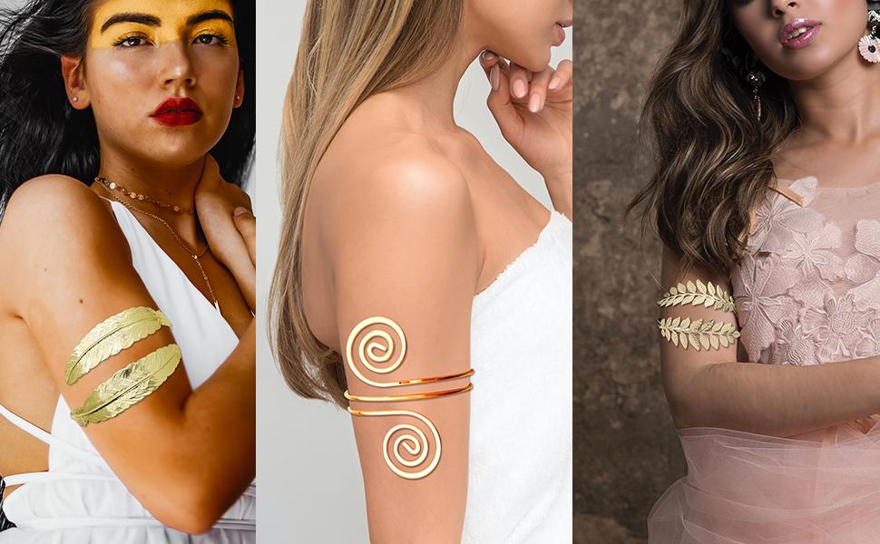 4pcs gold arm cuff arm bangle bracelet for women