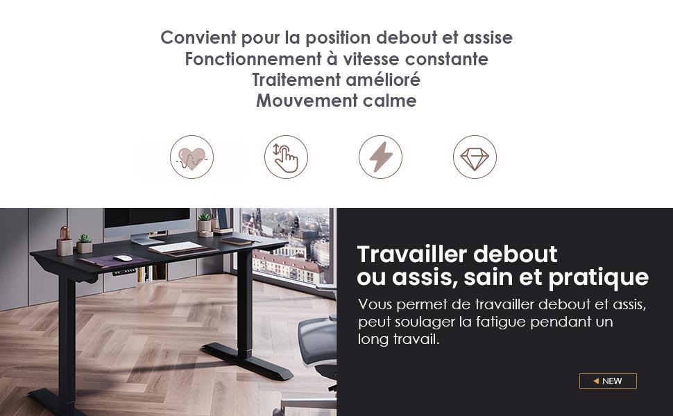 bureau assis debout électrique reglable plateau planche noire bois table de rectangulaire