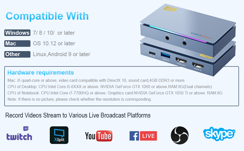 HDMI USB 3.0 capture card compatible to PC (Windows, Mac, Linux), no need to install a driver