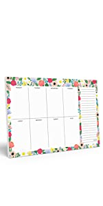 Floral background with day to day listing with notes on the side