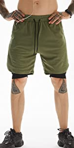 men running shorts with phone pockets 2 in 1