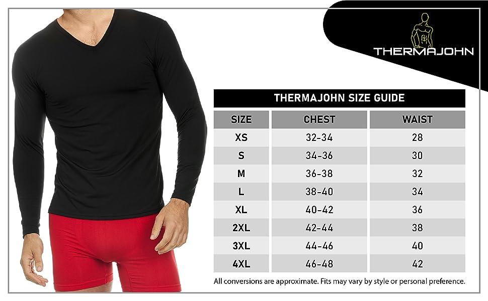 Thermajohn thermal shirt size chart
