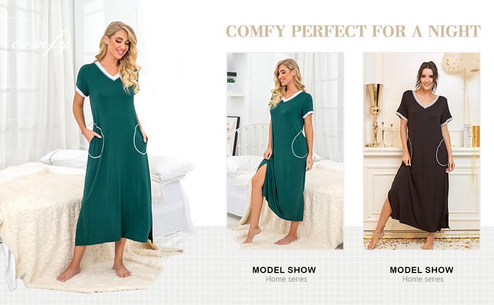 womens soft comfy satin silky sleepshirts bamboo nightgowns