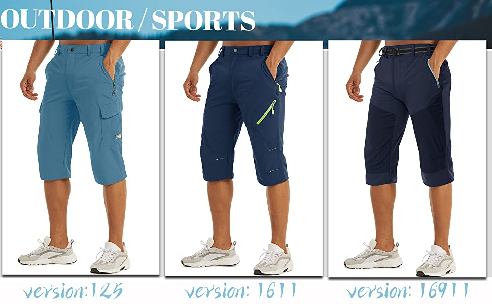 mens hiking shorts 3/4 outdoor sport active lightweight quick dry breathable
