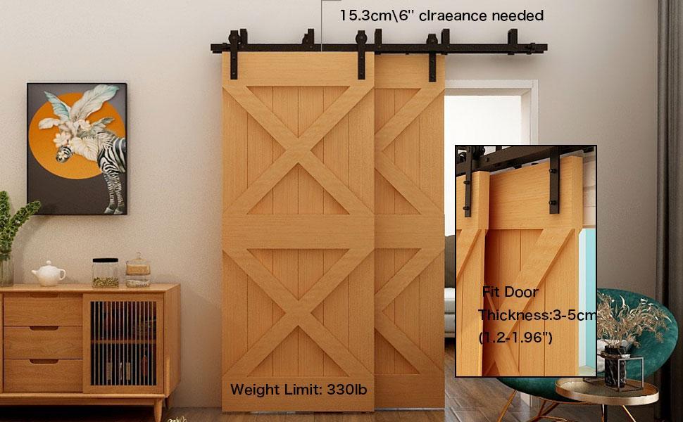 Low Ceiling Heavy Duty Bypass Sliding Barn Door Hardware double Track Wooden Doors Flat Track