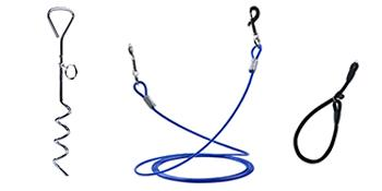 dog tie out stake, cable and collar