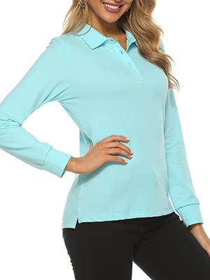 AjezMax Women's Long Sleeve Golf Shirts UPF 50+ Quick Dry V-Neck Sports Athletic Tennis With Collar