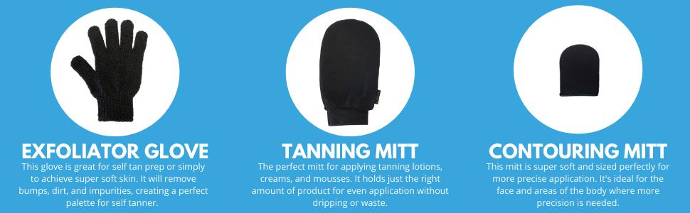 Exfoliator Glove and Face Mitt Tan Tanning Set Self Skincare Sunless Padded Microfiber Applicator