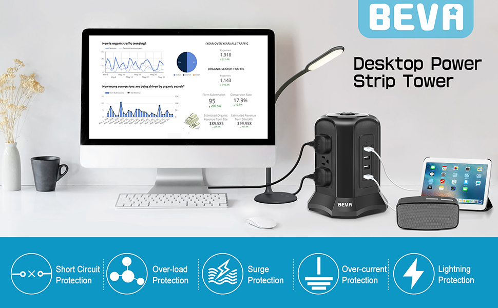 BEVA power strip tower with 9 outlets 4 USB ports