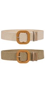 Women Elastic Wide Belt - Fashion Summer Bohemian Straw Imitate Woven Belts