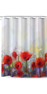 Red Flower Pattern-Fabric Shower Curtain