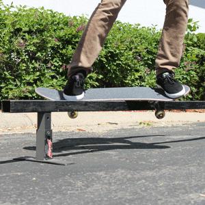 Grinding a rail on skateboard