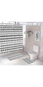 Bohemian Geometric Shower Curtain Sets