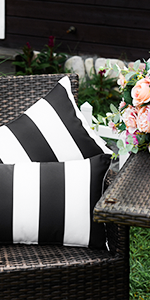Outdoor Pillow Covers, Waterproof, Stripe Square Pillowcases Patio Throw Pillow Covers Cushions