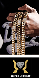 TRIPOD JEWELRY Mens Womens Cuban LInk Chain