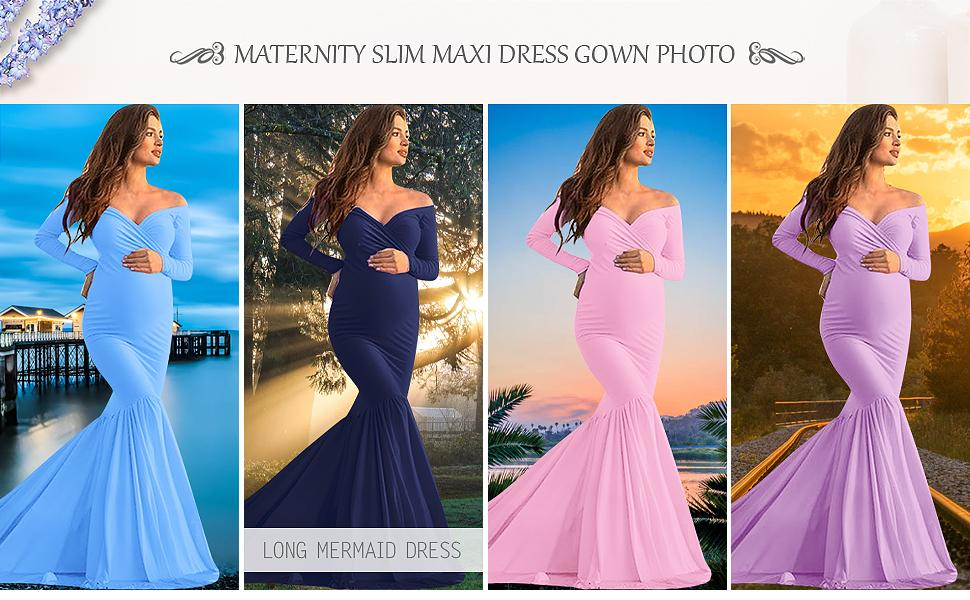 Off Shoulder Long Sleeve Maternity Gown