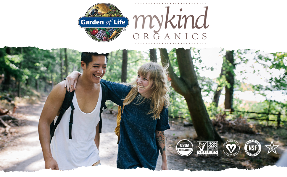 man and woman walking outdoors, mykind logo and certification logos