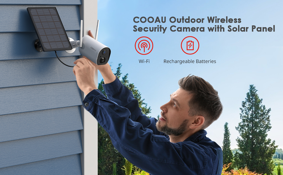 COOZU Outdoor Wireless Security Camera with Solar Panel