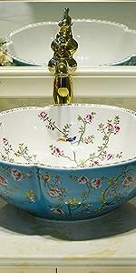 floral bird vessel sink