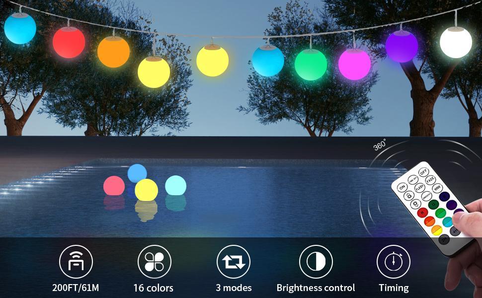 Floating Pool Lights  RGB Color Changing LED Pool Balls Lights Waterproof floating light for pool