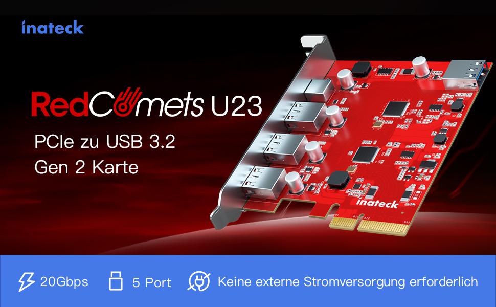 Inateck RedComets U23, PCIe USB 3.2 Karte, 20Gbps