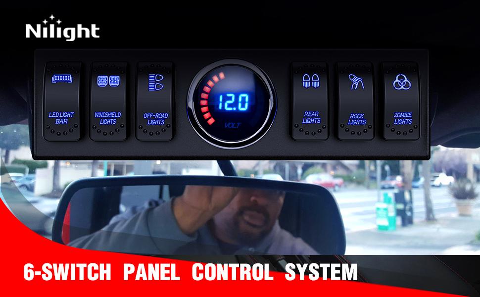Nilight 6 Gang Rocker Switch Panel 12V  Relay Box Circuit Control System