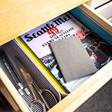 Paper tray and long bin in a drawer with supplies and magazines