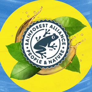 Het groene kikkertje logo van de Rainforest Alliance met theeblaadjes er om heen