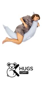Donna incinta dorme abbracciando il Cuscino Gravidanza Grigio con  Pois Bianchi