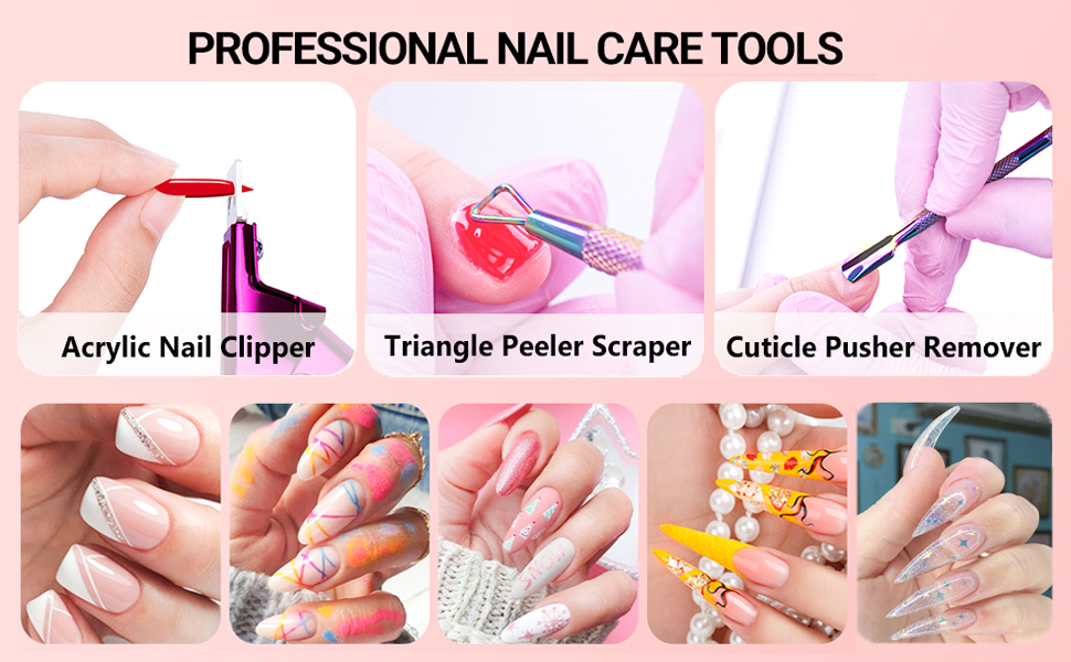 Acrylic Nail Cutter Fake Nail Trimmer with Mental Cuticle Pusher Remover Cleaner Nail Scraper