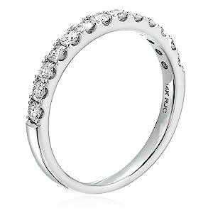 Vir Jewel  1/2 cttw Diamond Wedding Band 14K White Gold 13 Stones Prong Set Round