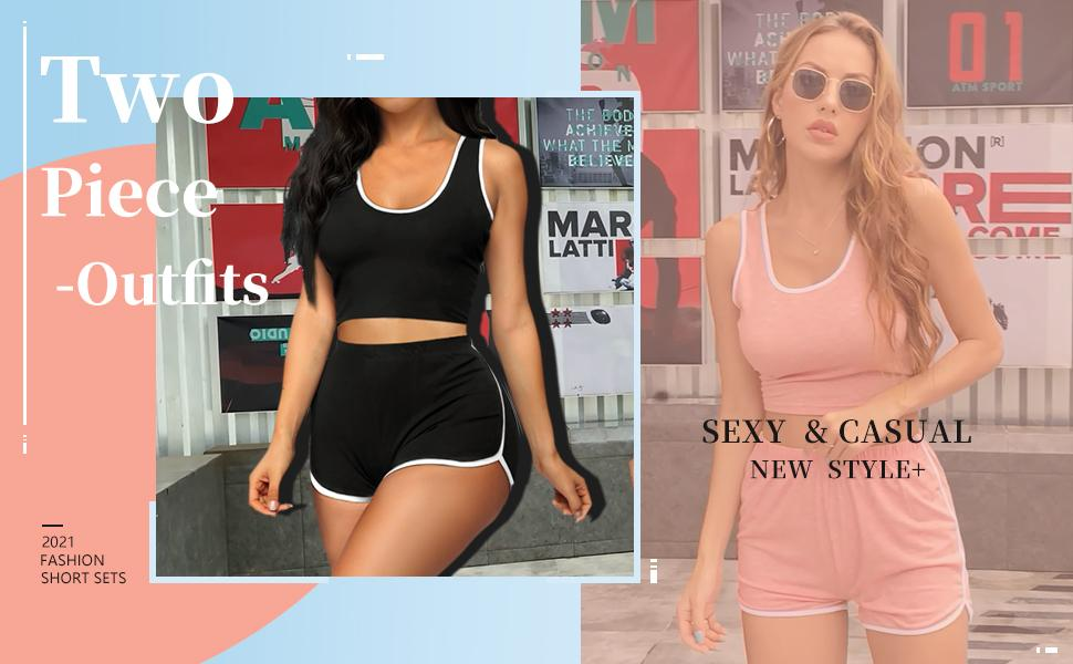 Womens 2 Piece Outfits Sexy Short Sets Summer Active Tracksuit