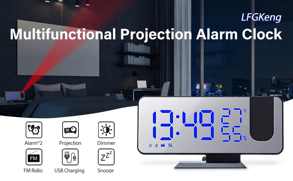 Multifunctional projection alarm clock