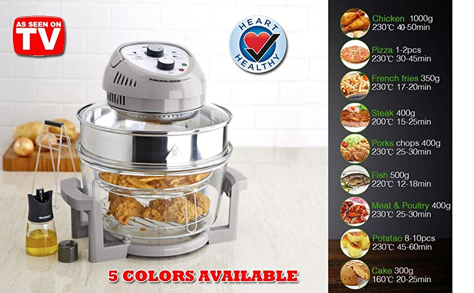 BIG AIR FRYER, AIR FRY, DEHYDRATE, OILESS CONVECTION, MEAL IN A BAG, HEALTHY FRYING