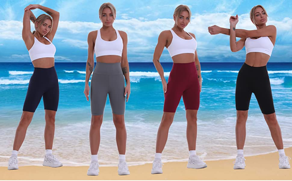 biker shorts for women 3 pack workout shorts plus size  athletic running yoga shorts